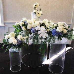 Naxilai Acrylic Round Cylinder Plinths Clear white  Cylindrical Display Plinths for Exhibitions Events Weddings