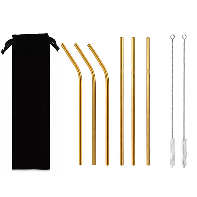 Custom Metal Bent Straws Eco Friendly 304 Drinking Stainless Steel Straw