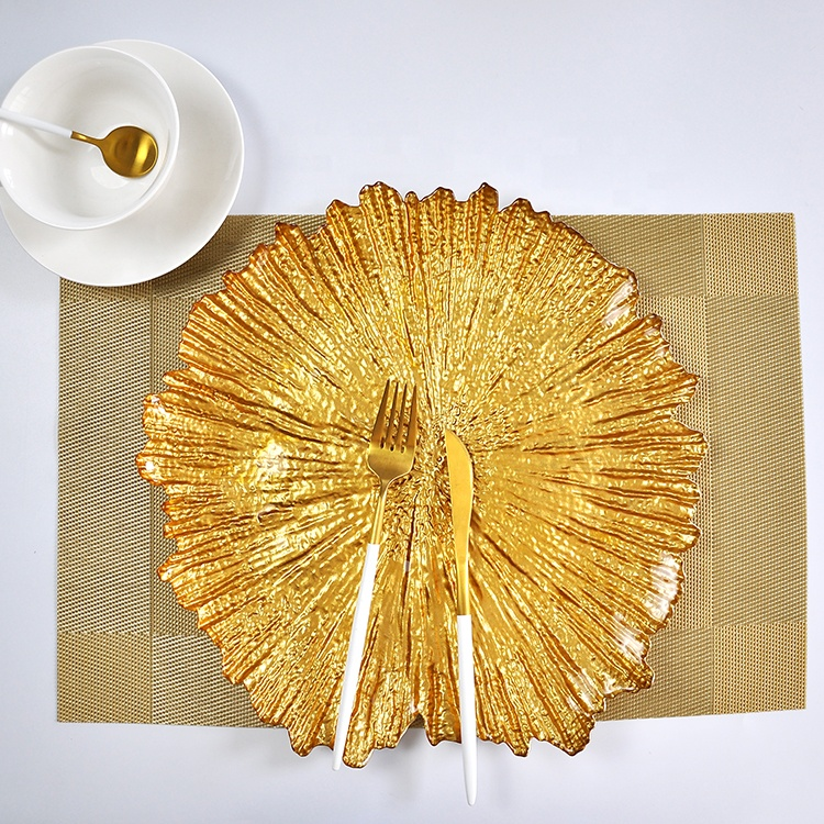 Wholesale New design reef glass decor gold wedding glass charger <strong>plate</strong>