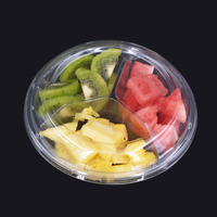 Disposable plastic tray PET Material fruit salad bowl with lid round plate round food packing container