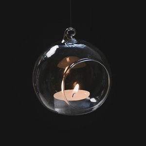 Wholesale round shape Hanging ball glass candle holder crystal ball candlestick