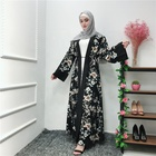 New arrival EID ramadan dubai muslim women long sleeve islamic maxi dress floral abaya