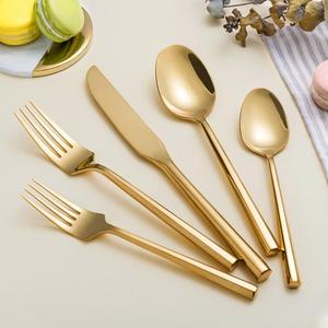 Wholesale bulk brass gold plated hotel flatware set 72 pcs gottinghen cutlery set With Low price