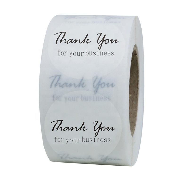 Hybsk Thank You for Your Business <strong>Stickers</strong> <strong>Clear</strong> Transparent Vinyl Label <strong>Stickers</strong> 1.5&quot; Round 500 Labels Per Roll