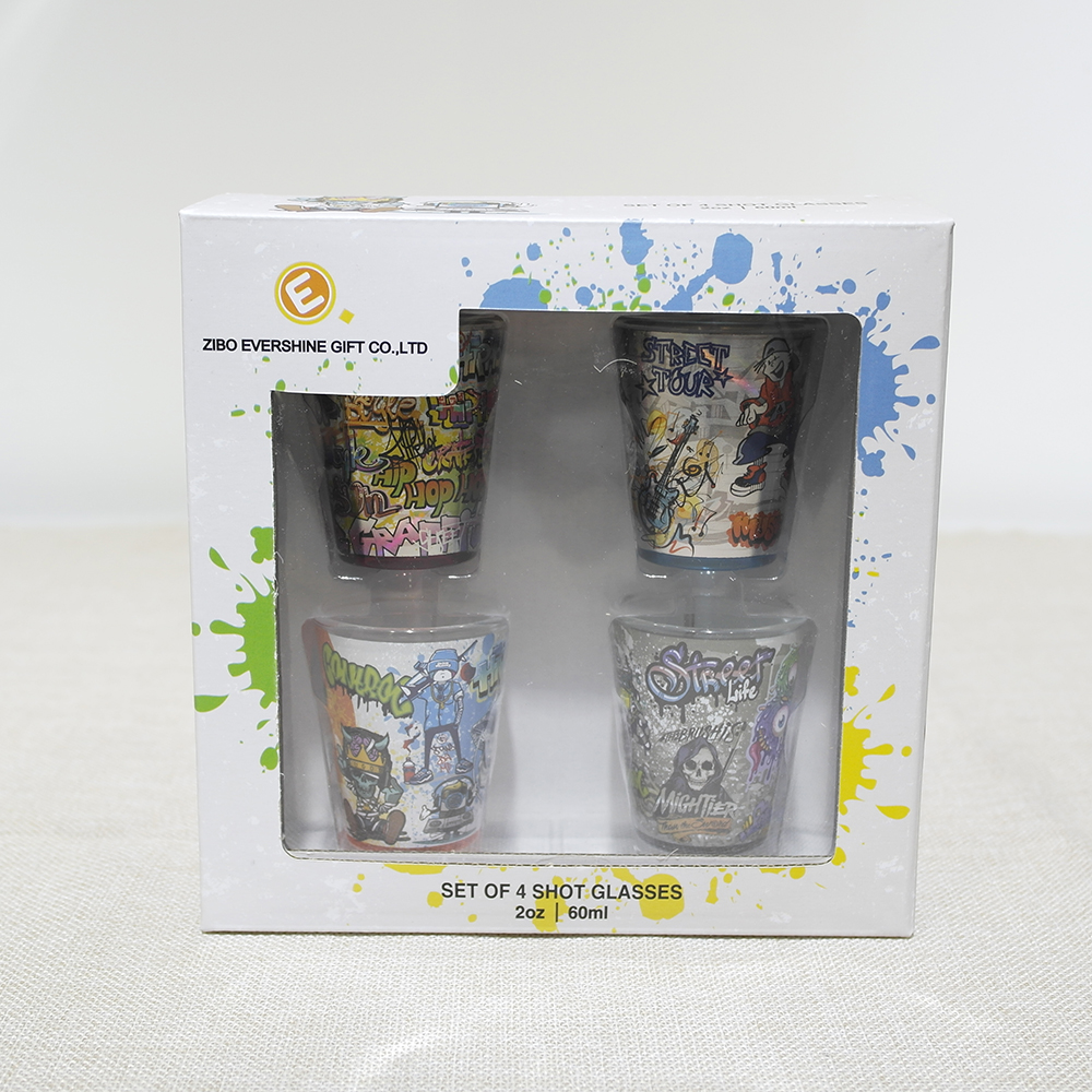 set of 4 1.5oz full wrap shot glass with decal and color box packing pvc tray