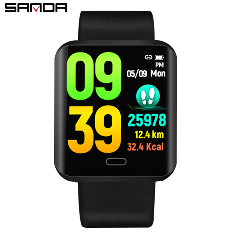 SANDA B8 Men Women Smart Bluetooth Bracelet Watches Blood Pressure Heart Rate Monitor Fitness Tracker Sport Wristwatch, 2 colors
