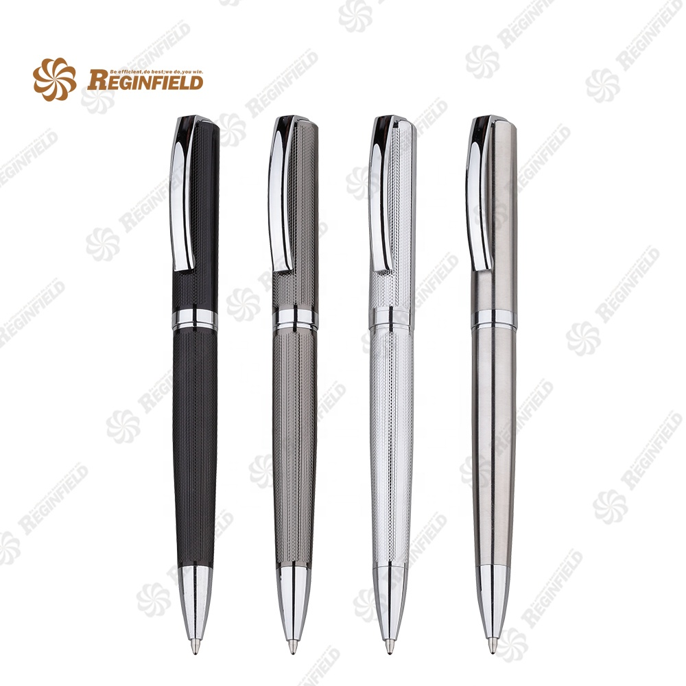 Popular Design Luxury Brass etching barrel Metal ballpoint pen For <strong>Promotional</strong>