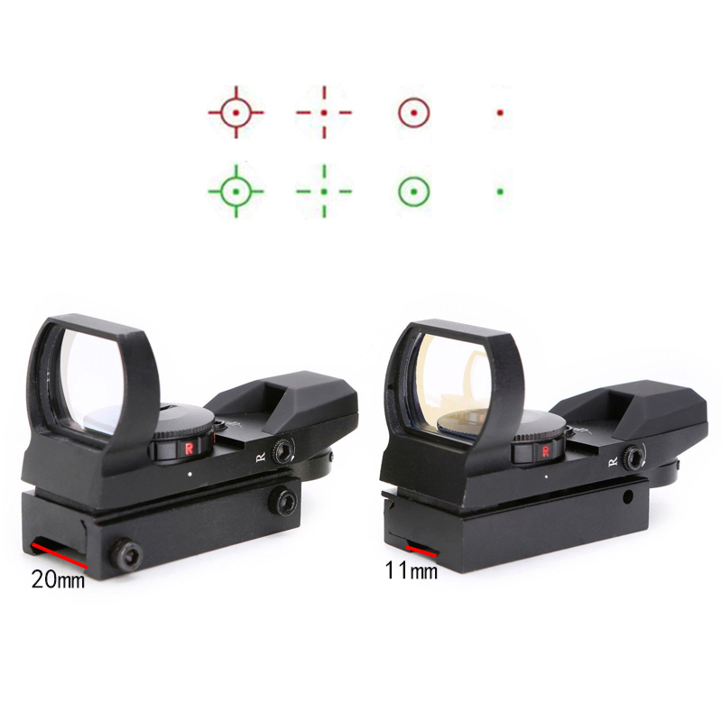 SPINA Holographic 1x22x33 Red Green Dot Reflex Sight Scope with 11mm 20mm rail For Airsoft, Black