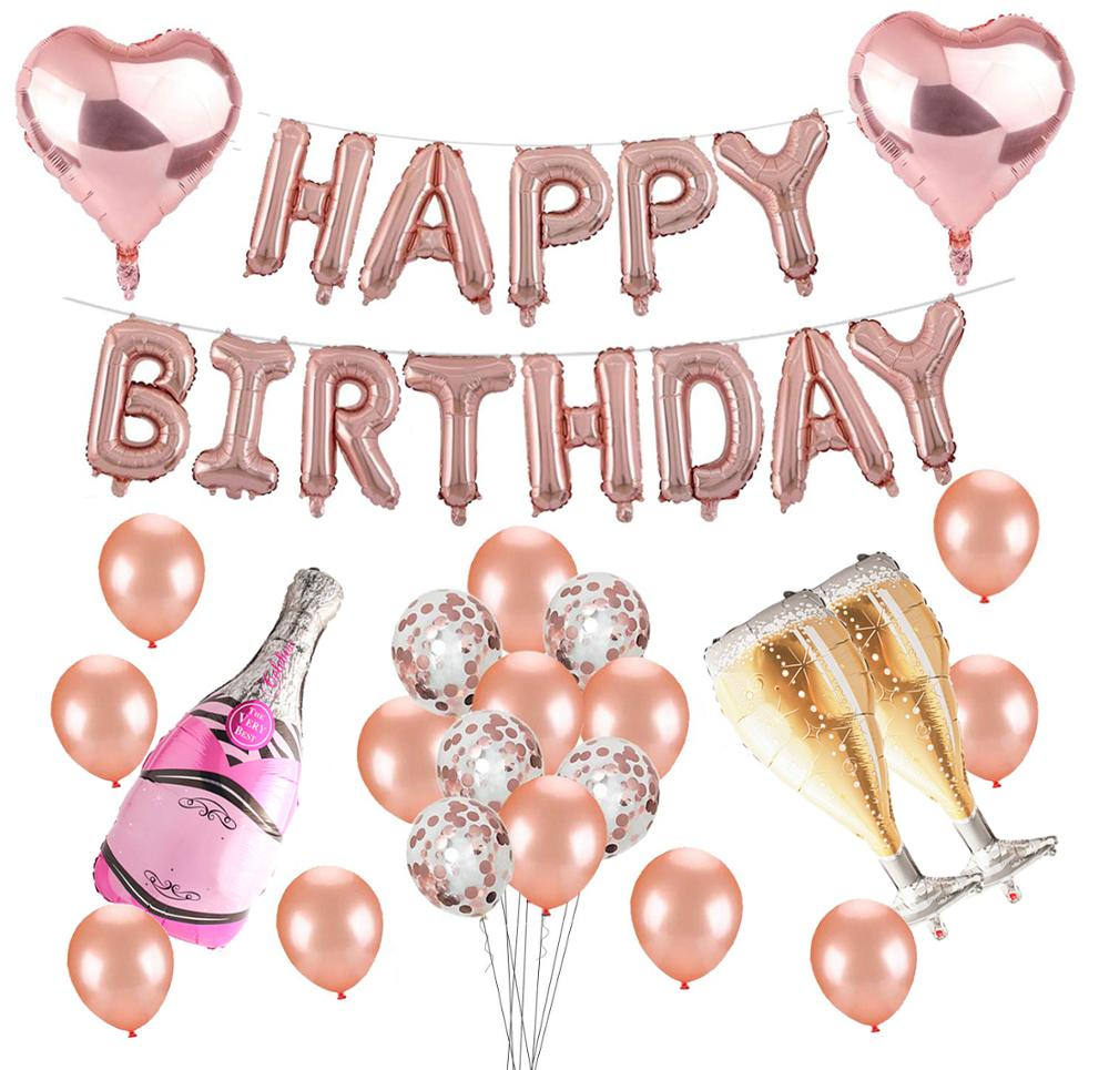 Happy birthday rose gold balloon banner party decorations set supplies
