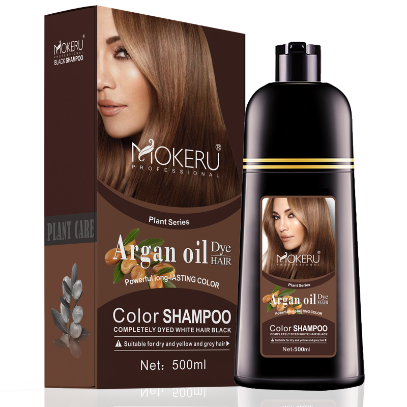 7 Days Delivery Wholesale Mokeru Natural Argan Oil Essence Fast Hair Color Shampoo For Women Dry Hair Dye Permanent Shampoo