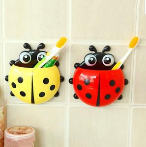 Ladybug Sucker Children Kids Toothbrush Holder Suction Hooks Toothbrush Wall Suction Bathroom Sets