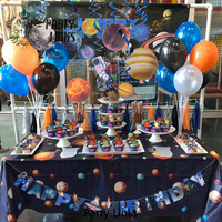 Galaxy Invaders Theme Party Decorations, Happy Birthday Banner Spaceship Rocket Shutter Alien Planet Garland