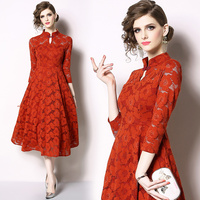2019 Europe and America New Elegant Women 3/4 Sleeve Red Lace Midi Party Dress