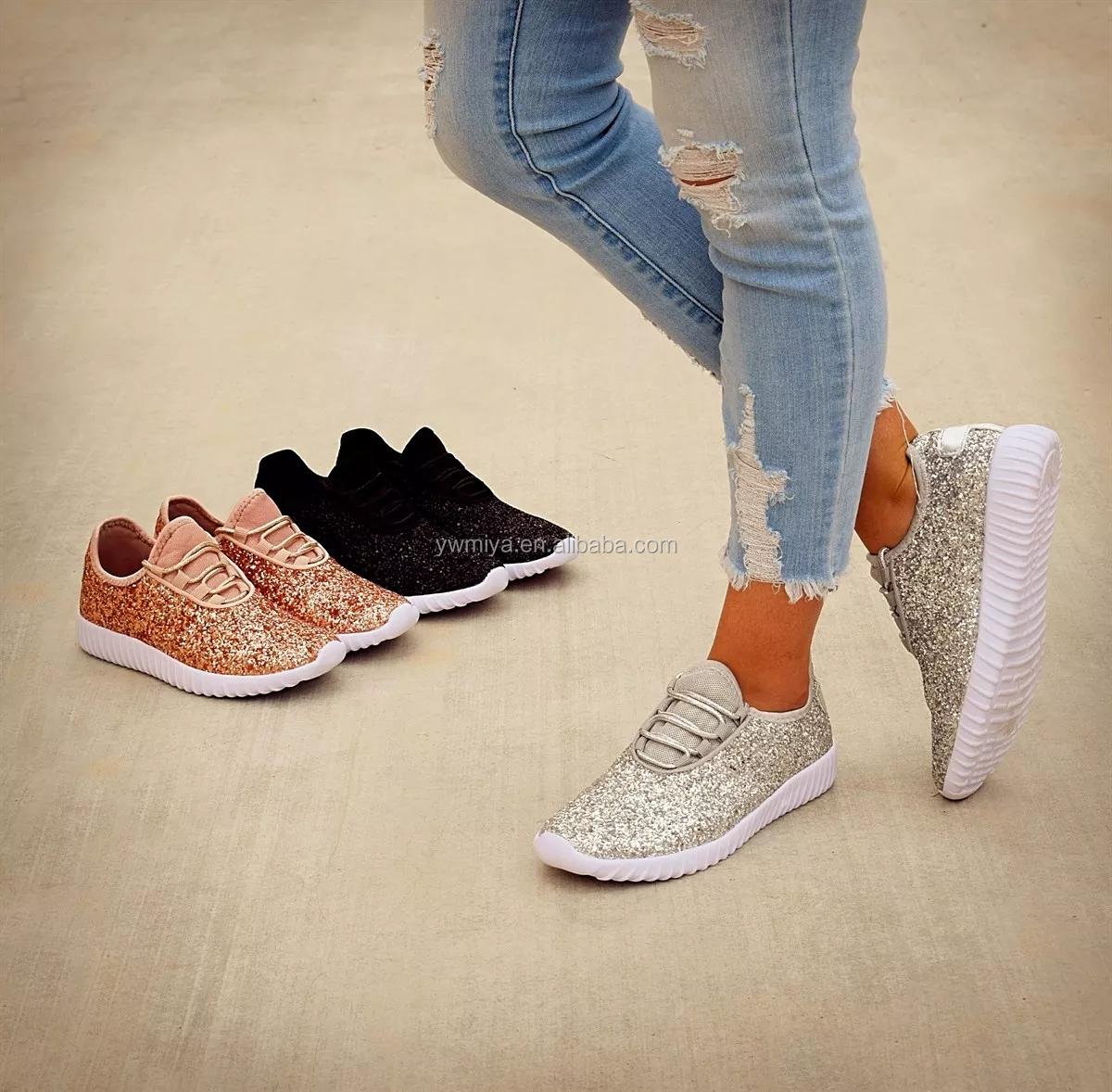 71698ab14 SL-008 2019 mais recente moda bonito lantejoulas decorado brilho esportes  sapatos para as mulheres