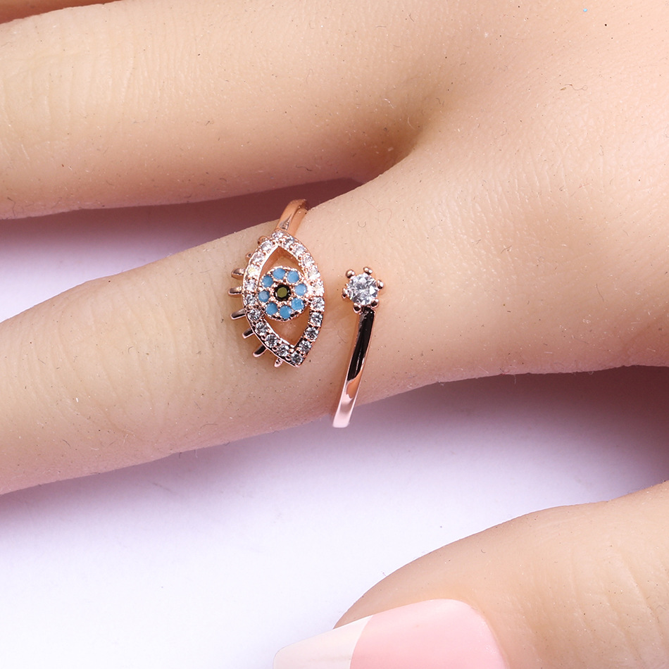 1pc Silver Color Evil Blue Eye Open Rings Copper Micro Pave Cubic Ring Jewelry Adjustable Women Ring Gift Lucky Eye Jewelry фото