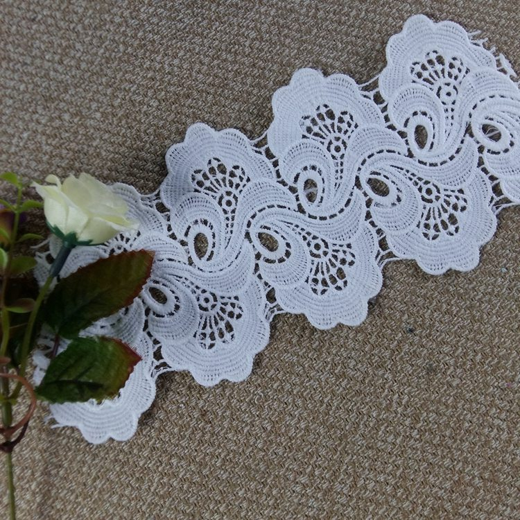 10cm white wave design chemical <strong>lace</strong> wholesale <strong>dubai</strong> french <strong>lace</strong> for abaya