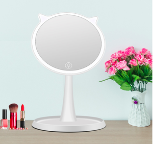Makeup Mirror USB Rechargeable Vanity Mirror with Touchscreen Dimmable LED Light for Countertop Cosmetic