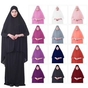 Amazon Hot selling long sleeve burka abaya muslim long dresses with hijab