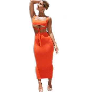 Ladies Fashion Milk Silk Dress Bandage Party Suit Tops And Skirt Bodycon Summer Dress Women Clothing Plus Size Two Piece Set