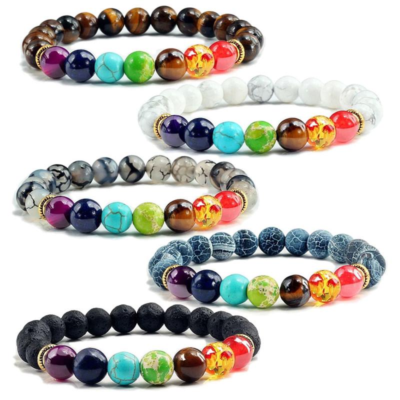 Bracelet perlé coloré perles en pierre naturelle Yoga valconique énergie de guérison pierre de lave 7 Chakra diffuseur Bracelet échantillon gratuit