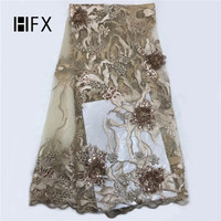 HFX 2019 best seller french 3D flower lace fabric with sequins beaded african golden embroidery tulle lace for women garment