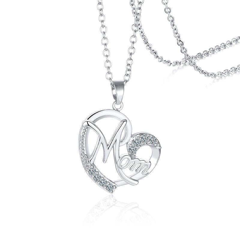 cabeaa5b3e27 Nuevo diseño de Latón chapado en plata joyería corazón COLLAR COLGANTE con  circón para regalo de