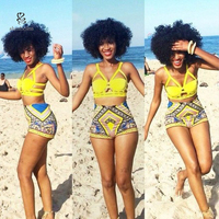 Summer Hot Sales African Wax Printed Designs Two Piece Swimsuits For Women 2019 Custom Womens Swimsuits Wholesale