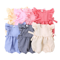 Wholesale Infant&Toddler 100% Cotton Clothes Short Sleeve Ruffle Hem Girl Baby Summer Romper