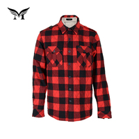 Factory supplier newest fashionable winter plaid mens heavy cotton quilted flannel shirts