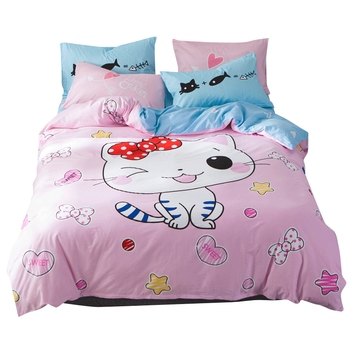 Hello Kitty Pattern 100%Cotton Cat Printed Cartoon Bedding Sets