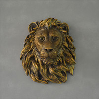 resin animal head for home decoration Colorful Resin art lion figurines