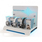 Silk Screen Printing Led Lighting Acrylic 3 Set Headphone Display Stand