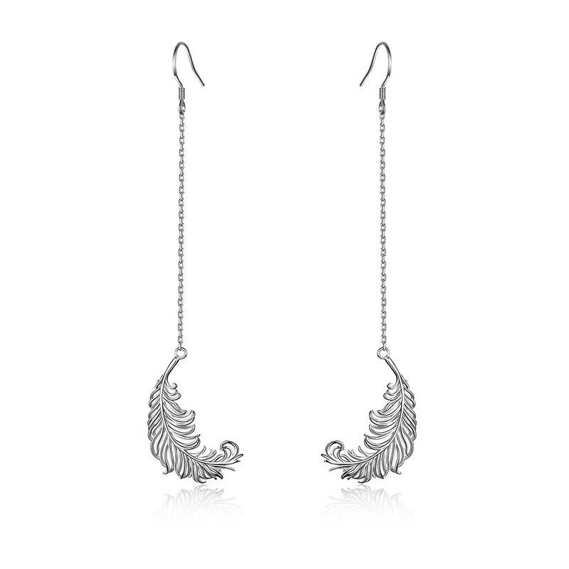 ca89d228c4ef Nueva moda genuino 925 plata esterlina plumas forma larga cadena pendientes  de la gota