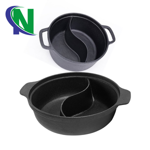 cast iron two handles and two flavour chafing dish& hot pot