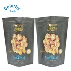 Custom plastic zipper food packaging black bag for popcorn packaging