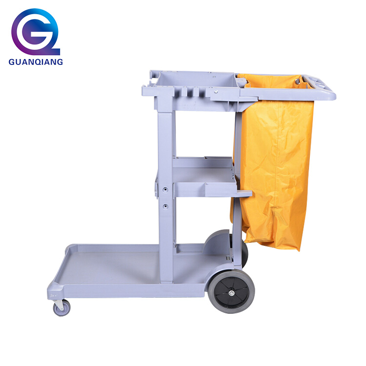 Outdoor multipurpose plastic cleaning trolley commercial cleaning service janitor carts