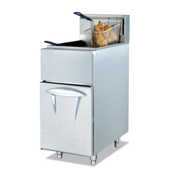 Stainless Steel Floor Standing Gas Fryer with one tank two basket
