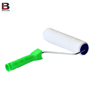 9 Inch PHigh elastic fiber paint roller with plastic handle and zinc plated rod for wholesale
