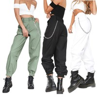 Autumn 2018 Women Warmed Pants Female Sports Joggers Pants High Waist Slim Hip Hop Pant With Chains Sales Hot