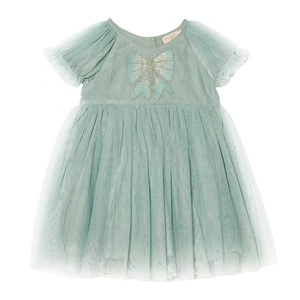 New design short sleeve baby net tulle frock party kids tutu dress baby girl