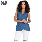 Chyna Mandarin Collar Sleeveless Sexy V-neck Business Casual Blue Tencel Denim Wrap Tunic Shirt And Blouses Ladies For Women