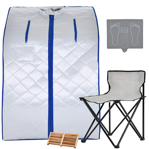 custom logo custom package large blue brown silver Portable Infrared Sauna with Chair