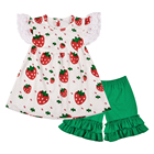 Boutique baby flutter clothes kids wholesale icing legging clothing set Strawberry print girls tunic tops outfits