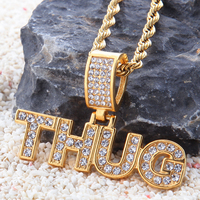 DJ Rap Hiphop Micro Pave Zirconia Diamond Gold Titanium Necklace Chain Full Crystal Letters THUG Charm Necklace