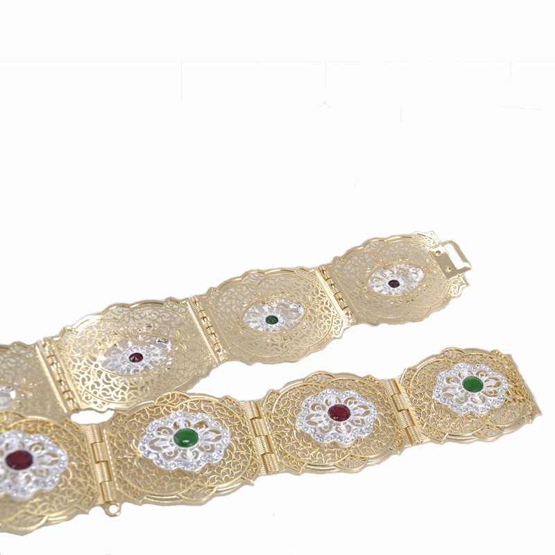 Duotone Women Jewelry Belts Rhinestone Caftan Belt Gold And Silver Plating European Fashion Waist Chain