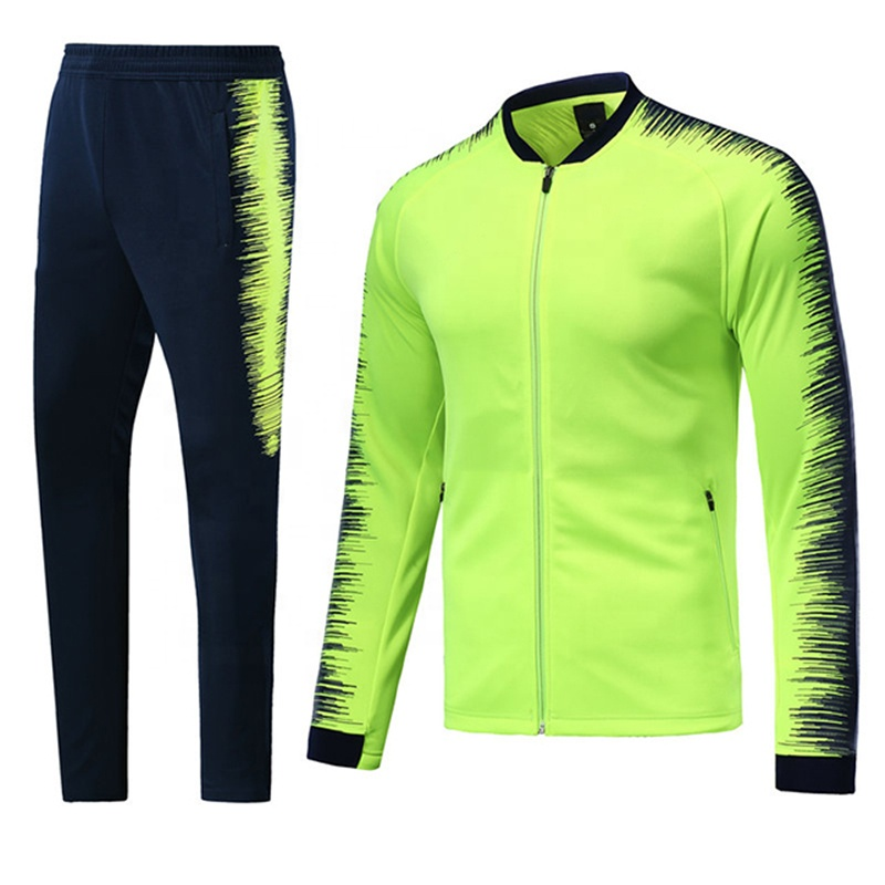 Wholesale Full Zip Polyester Soccer Jacket Sports Suit Football Tracksuit, Any color is available