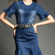 Young ladies short sleeve pencil denim dress with frill hem