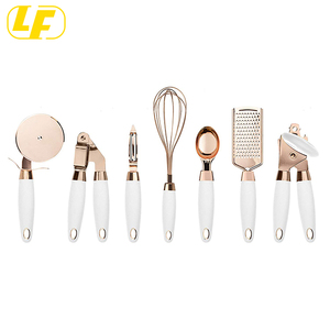 7 Pc Kitchen Gadget Set Copper Coated Stainless Steel tools with Soft Touch Nylon handle