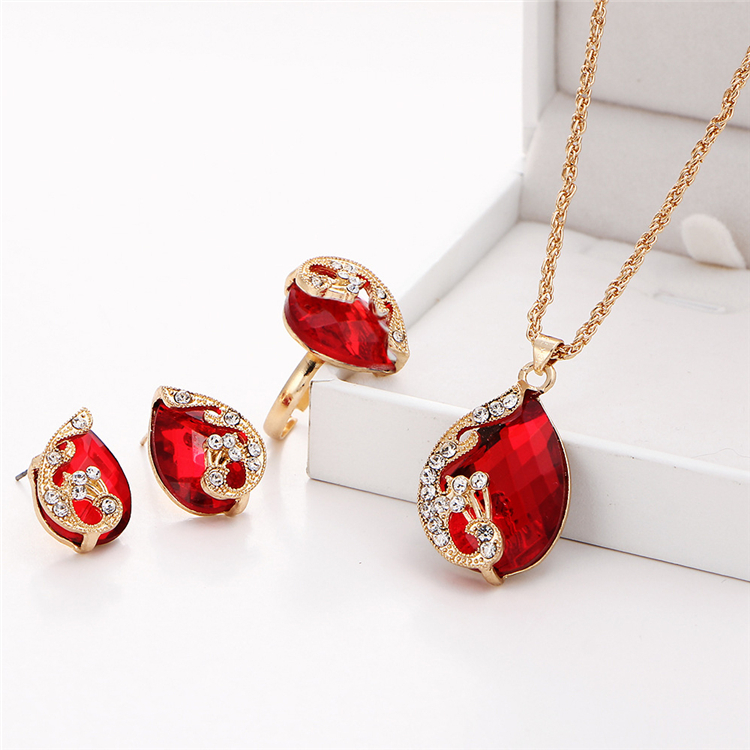 2020 new ladies zircon necklace earrings <strong>set</strong> luxurious alloy crystal jewelry <strong>set</strong>
