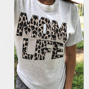 Women Short Sleeve Mama T-shirt Gray Leopard Printed Mom Life tshirt Vintage Tee Top Korean Clothes